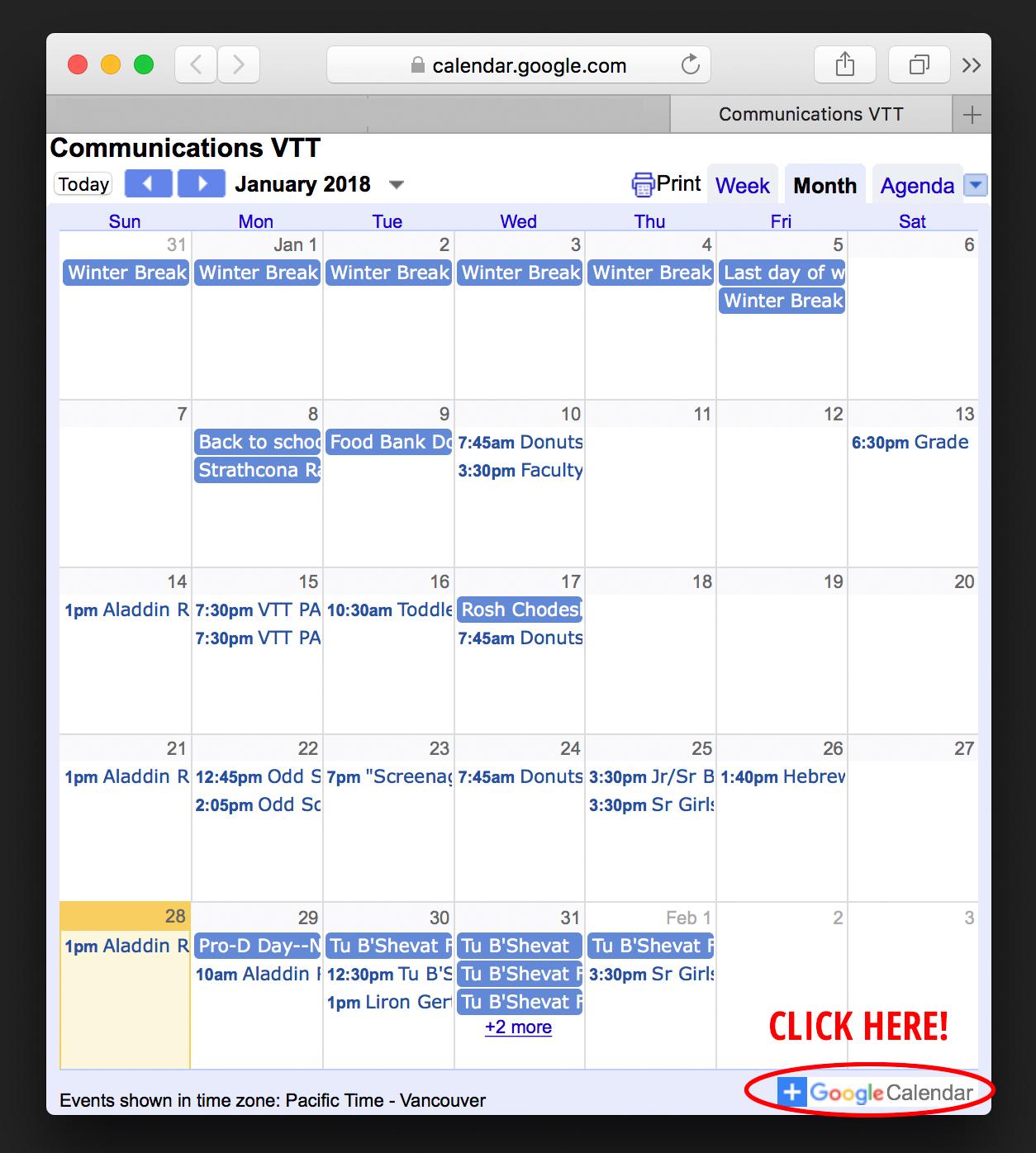 Torah Calendar.Calendar Vancouver Talmud Torah
