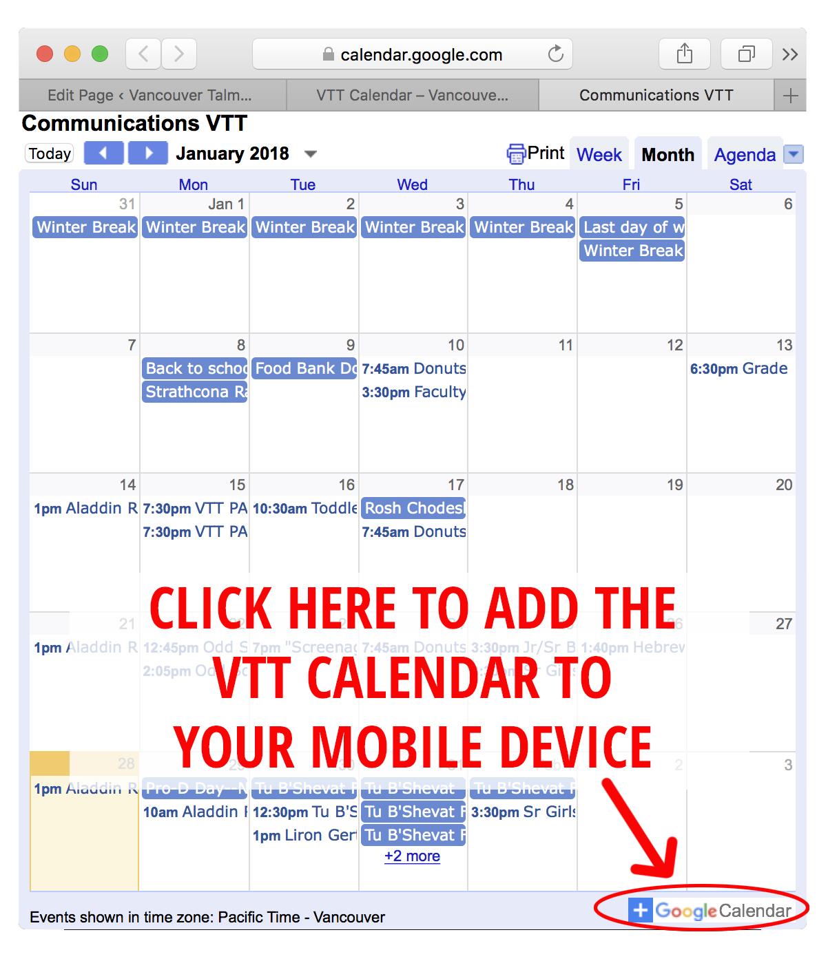 Torah Calendar.Calendar Click Vancouver Talmud Torah